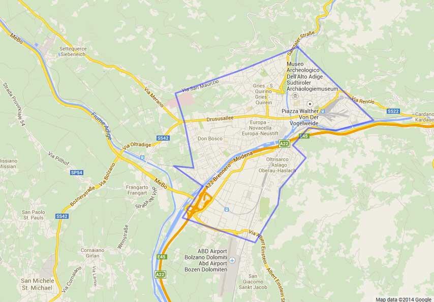 La dimensione di Bolzano rispetto a quella delle capitali mondiali