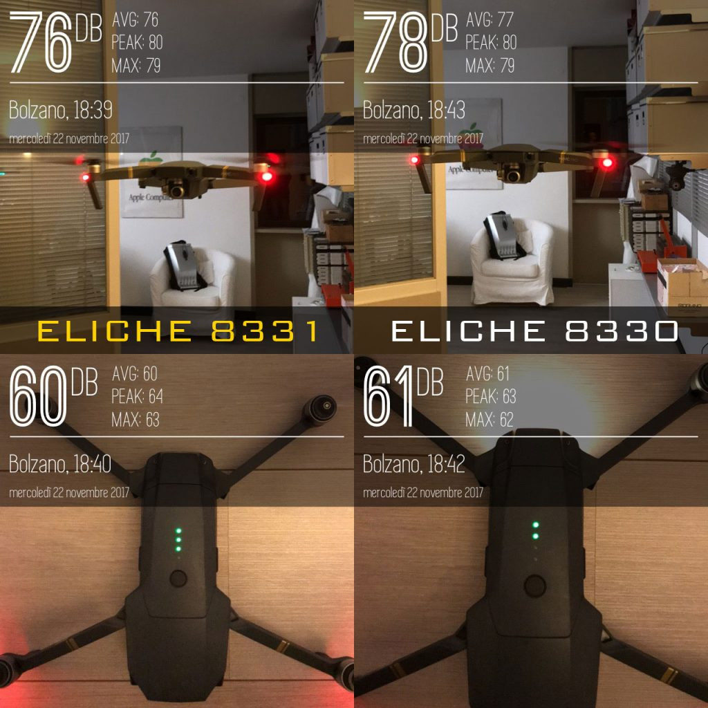 Provate le nuove eliche del Mavic Pro 8331 low noise vs le standard 8330