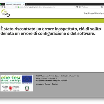 MyCivis rete civica di Bolzano attenzione alla (poca) sicurezza!