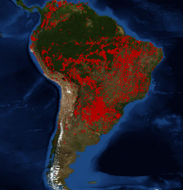 La mappa del Sudamerica tratta dal sito NASA FIRMS